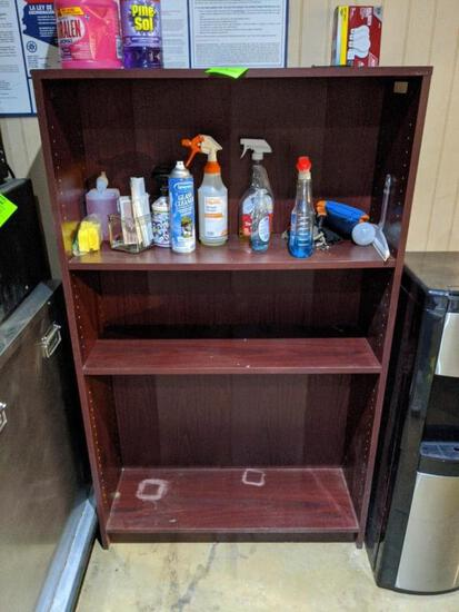 Wood shelf and cleaning supplies