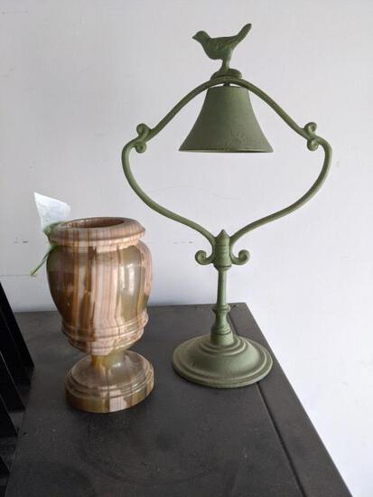 Cast Iron Bell and marble like decor