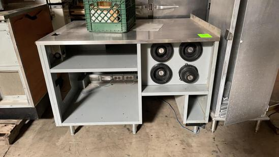 Stainless top metal cabinet with dispensers