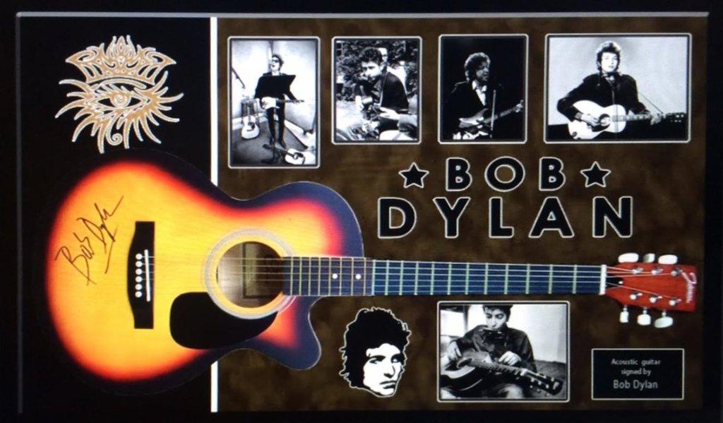 Bob Dylan Signed and Framed Guitar - Acoustic
