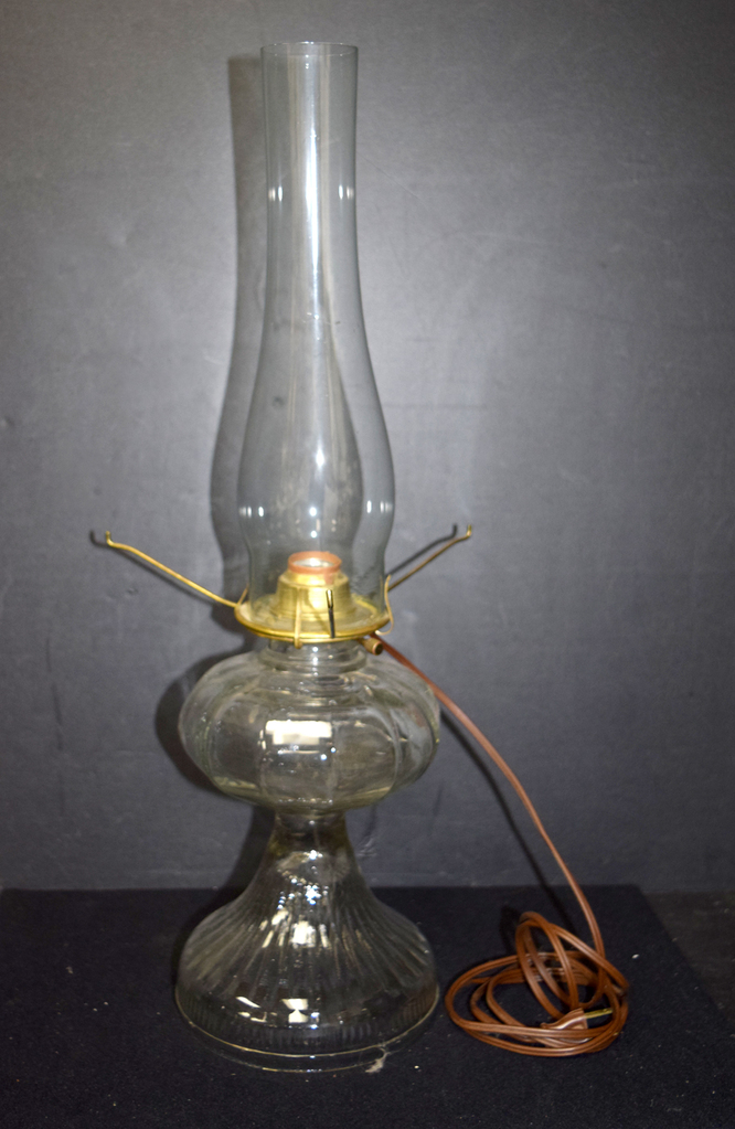 Vintage Electric Conversion Gl Pedestal Oil Lamp W Shade Support No