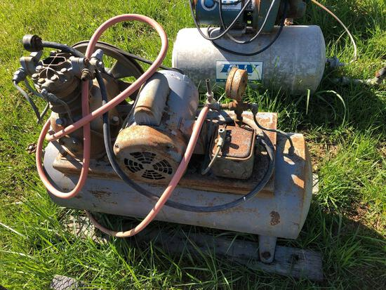 Air tank with electric motor and pump