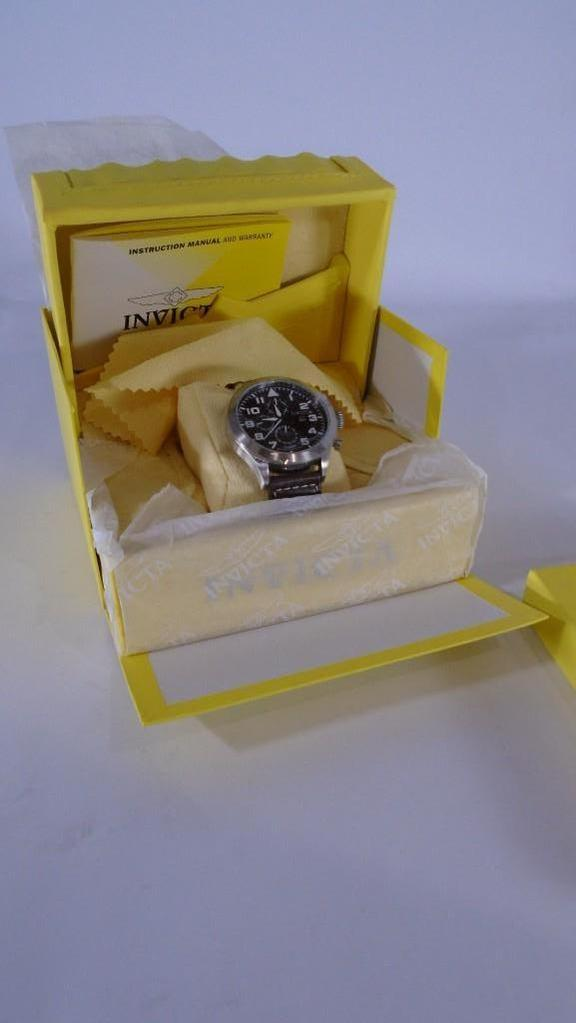 Invicta Watch #0352 Leather Band In Box with Book and Cleaning Cloth