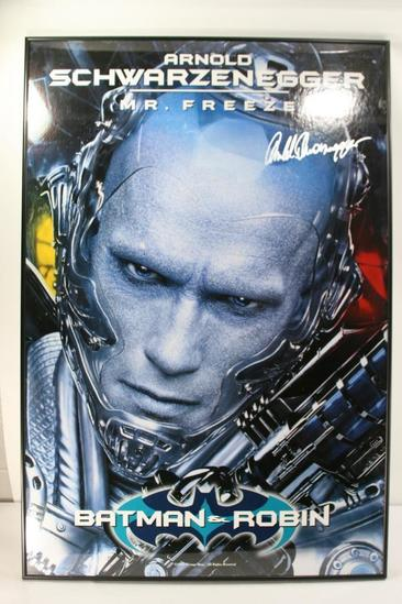 "Framed Poster Signed by Arnold Schwarzenegger ""Mr. Freeze"" NO Certificate"