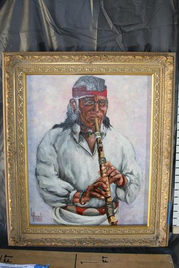 "21x25"" Oil Painting by Lawrence Harris ""Native American""."