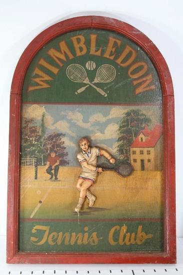 Wooden Wimbledon Tennis Club Sign 24 tall 16 wide