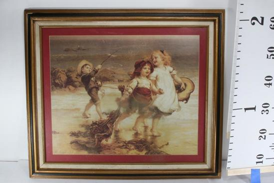 Drawing of Children Playing on Beach by Fred Morgan 28 wide 24 tall