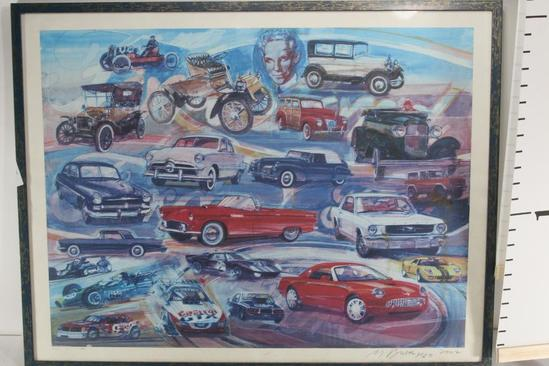 Decorative Drawing of the Evolution of Cars 31 wide 24 tall