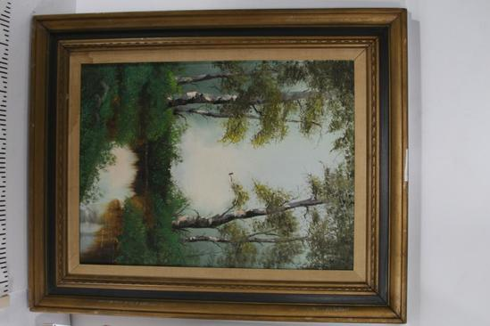 Oil Painting of Small Reflective Pond Surrounded By Trees by N. Cox 32 tall 26 wide