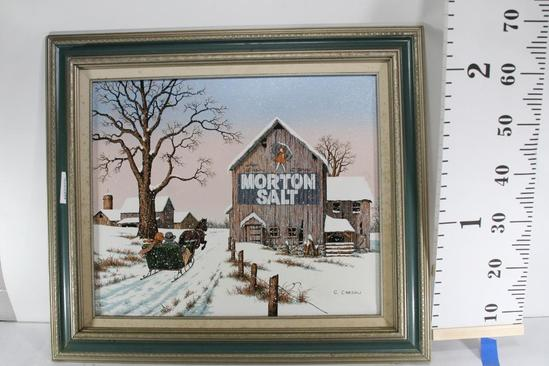 Winter Themed Print of Horse Drawn Sled Passing Vintage Advertisement by C. Carson 27 tall 32 wide