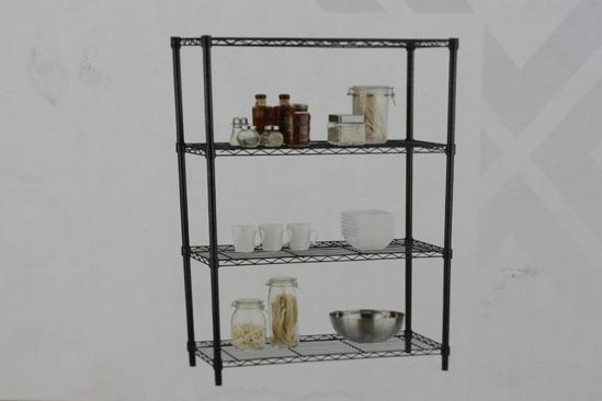 HDX 36 in. W x 54 in. H x 14 in. D 4-Tier Black Shelf,