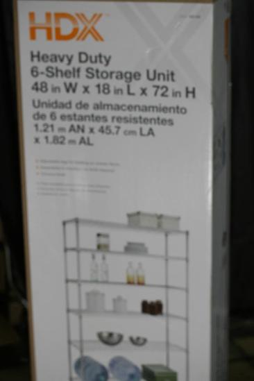 HDX 48 in. W x 72 in. H x 18 in. D Decorative Wire Chrome Heavy Duty 6 tier Shelving Unit