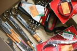 Various Sized Wrenches, and 3 Oil Filter Wrenches