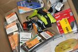 Miscellaneous Box, Copper Fit Compression Knee Sleeves, Defiant Headlamps, Razor Blades, etc