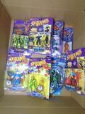 Box of Various Spiderman Action Figures, Captain America, Dr. Strange, Spider-Woman, etc.