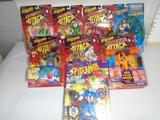 Box of Various Spiderman Action Figures, Captain America, Carnage, Auqa-man, etc.