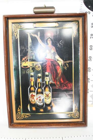 Framed Ad with Lamp Anheuser Bosch Inc Brewers Of Faust & Muenchener Lagers & Black & Tan Porter