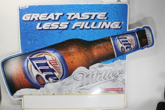 Miller Lite Metal Ad Sign 3.5 ft x 2.5 ft
