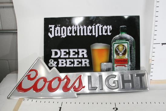 Jagermeilter 2 ft x 1.5 ft & a Coors Light 2.5 x .5 ft metal Ad Sign. 2 units