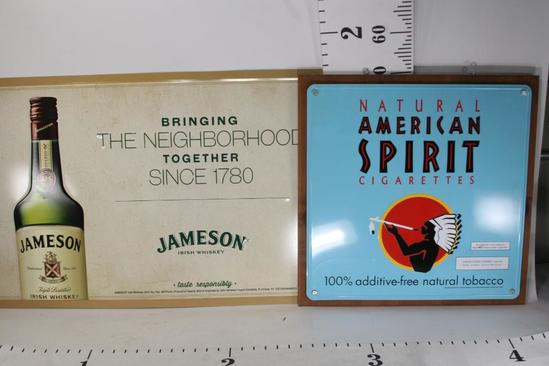 Tin Jameson Whiskey Metal Ad Sign 3.5 X 2 ft Framed American Spirit Cigarettes Metal Ad Sign 2x2 ft