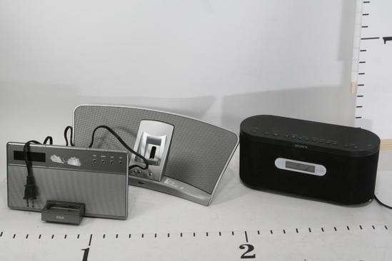 Assorted Portable Radio Clock Ipod Speaker RCA, Klipsch, Sony. 3 units