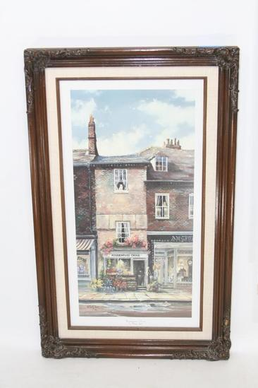 """Framed Art Housewives Choice by Marty Bell 1986 Print no.332 20x10 """""""