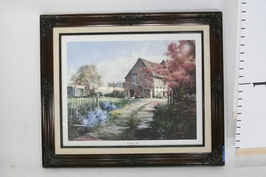 "Framed Art Chippenham Farm by Marty Bell 1986, 312/500. 24 x 18 """