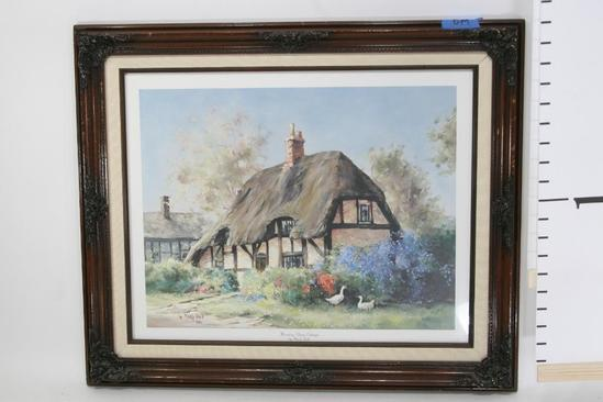 """Framed Art Morning Glory Cottage by Marty Bell 1986 24 x 18"""""""