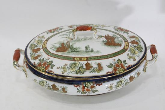 "Antique Royal Doulton Burslem Oval Dishw/Lid Madras England Floral Design Gold Trim 11.5x7.5x5"""