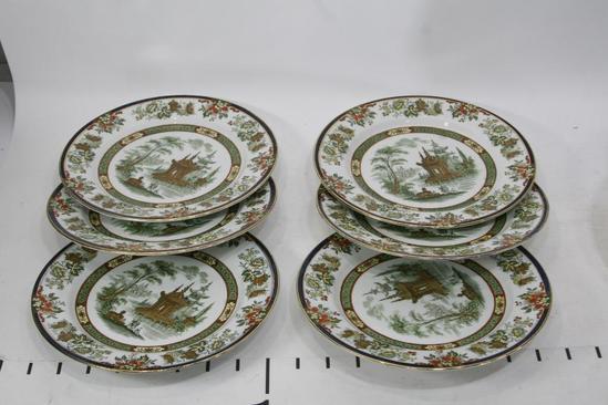 "Antique Royal Doulton Round Salad Plate Madras England Floral Design Gold Trim Apprx 8"", 6 Units"
