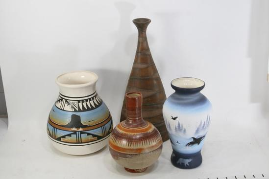 Assorted Artistic Clay Jars. Size Varies 8 inches to 14 Inches. T. Black 4 Units