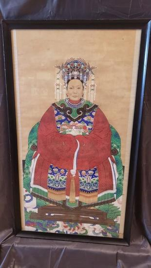 "Framed Asian Ancestral Art 15 lbs 48"" Tall 28"" Wide Possible Empress"