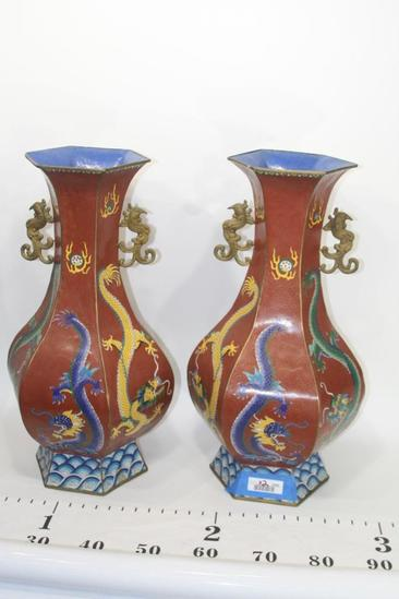 Asian Flower Vase Handpainted Dragon 14 lbs each 2 units