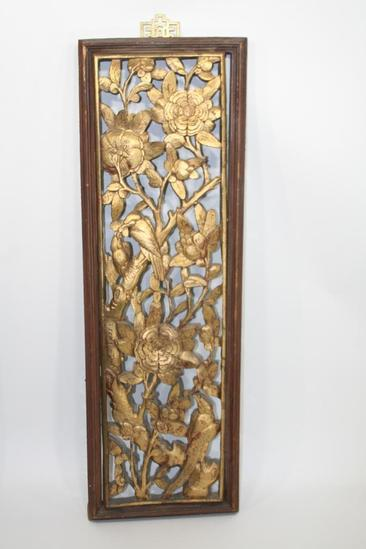 "Painted Asian Wood Panel 14x39x2"" 8 lbs Chinese wooded carved gold leaf"