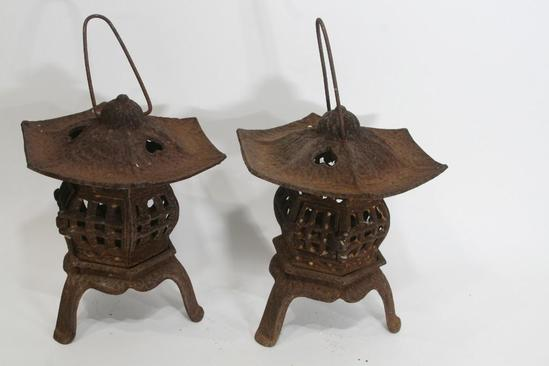 "Units Asian Cast Iron Lamps L 10"" x H 12"" x W 10"", 14.8 lbs"