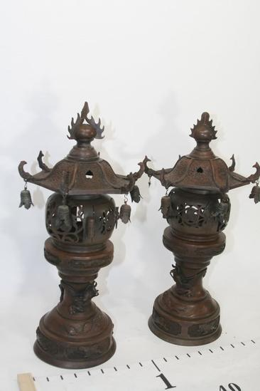 "Cast Iron Asian Lamp,Dragon & Flower Design L 10""x H 19""x W 10"",removable top, 16.8 lbs"
