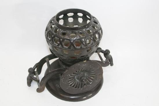 "Cast Iron Altar Lamp Candle Asian 10"" Tall 16 lbs"