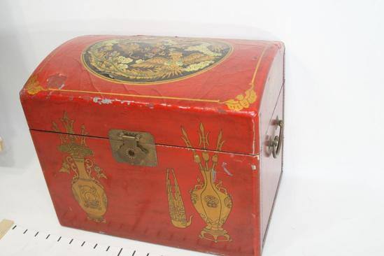 "Small Red Wooden Asian Traveling Chest Storage Box L 16"" W 11"" H 10"", 11 lbs"