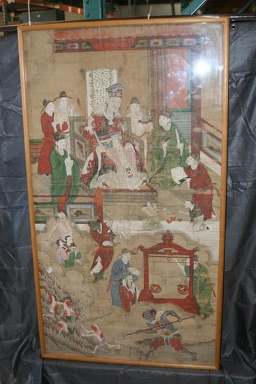 "Japanese Framed Asian Ancestral Scroll Art 55"" Tall 33"" Wide 13 lbs"