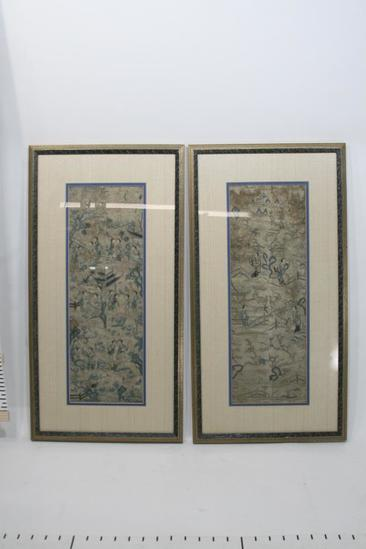 Antique Asian embroidered silk stitched tapestry panel blind stitch 2 units
