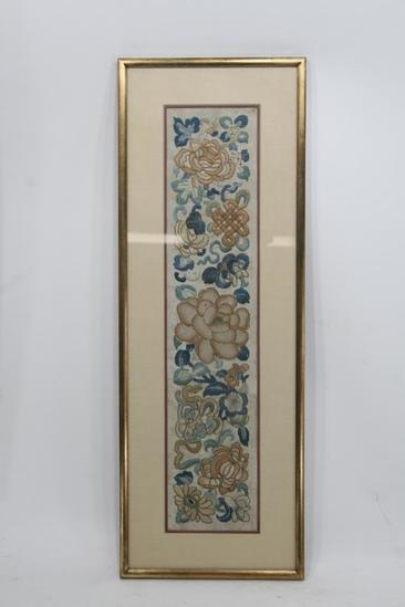 "Antique Asian embroidered silk stitched tapestry blind stitch gold-like thread 1 unit 24"" Tall"