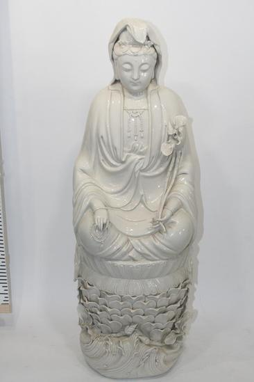 Gautama Buddha Seated in Flower Pedestal Statue Porcelain/Ceramic Approx 3 ft