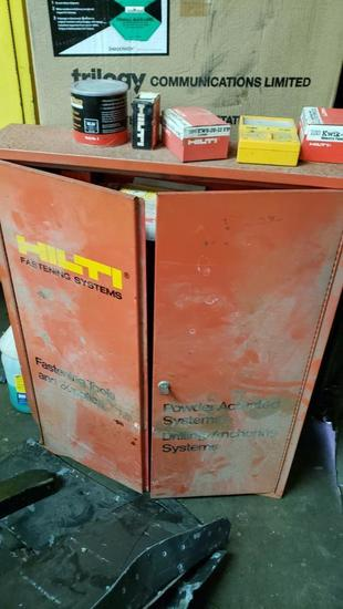 """Hilti fastening cabinet with fasteners and all contents 27"""" wide 34"""" tall"""