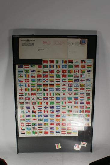 Framed Stamp Collection from various countries 16x25 ""