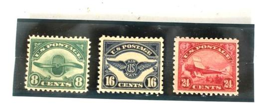 1923 Airmail Stamp Collection 8 16 24C, 3 units