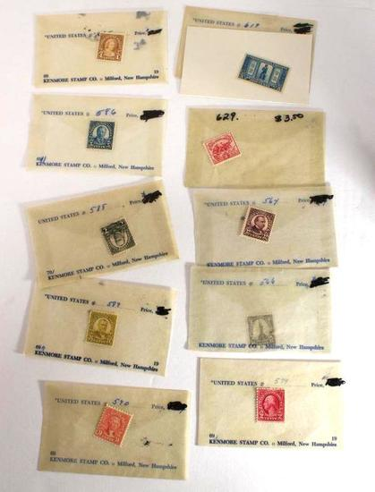 Various Antique Collectible Stamps In Protective Cases or Envelopes Various Values 10 Units