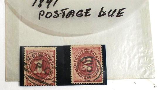 "Antique ""Postage Due"" Stamps 1 and 2 cents 1891"