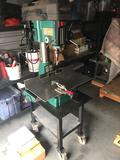 Grizzly Industrial Drill Press on Rolling Cart 15 Bits 110/220v 2HP Works see video.