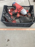 Crate of Milwaukee 28 Volt Power Tools