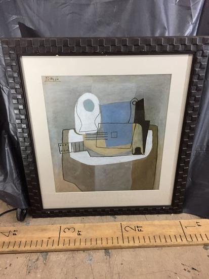 Framed Abstract Artwork - 35in tall, 31.5in wide